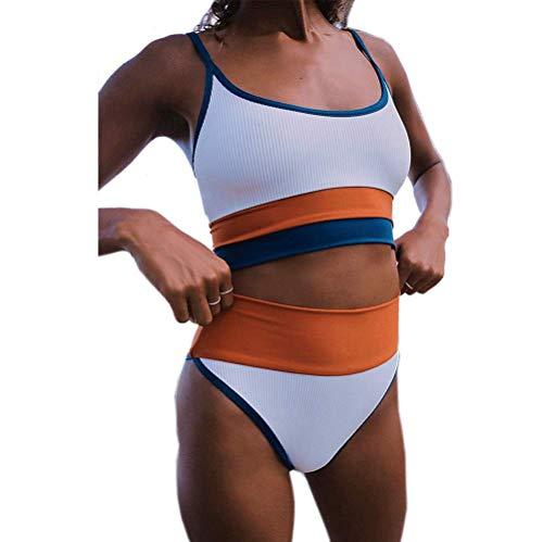 DURINM Traje de Baño Bikini Mujer Sujetador Push-up Sexy Traje de Baño de Dos Piezas Bohemio BañAdores Tops y Braguitas (Azul, M)
