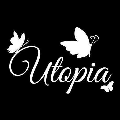 A/X 17 cm * 10,5 cm Utopia Mit Schmetterlingen Auto Aufkleber Vinyl Kunst Aufkleber Schwarz/Silber C24-0127 Silber