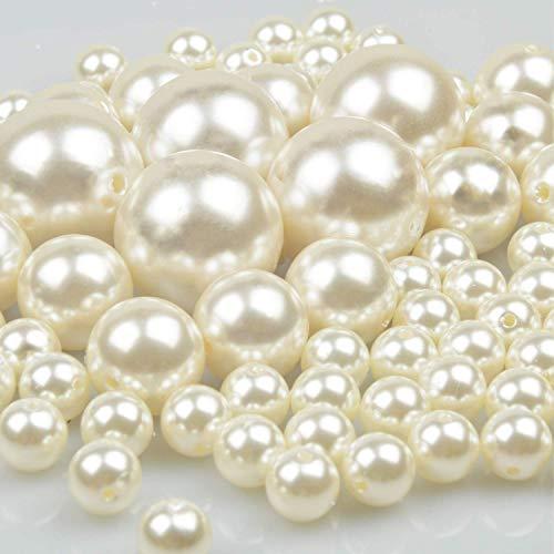 70 PCS 12/20/30mm Perlas Para Manualidades Perlas de Coser Plástico Surtido de Perlas Para la Decoración de Navidad, Fiesta de Cumpleaños, La Boda, Rellenos de Jarrones, Bricolaje de Joyería (marfil)