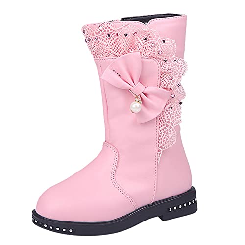 KewlCover Snow Boots for Girls Toddler Winter Outdoor Boots Waterproof with Thin Fleece Fur Lined Warm Bowknot Lace Snow High Boots Shoes