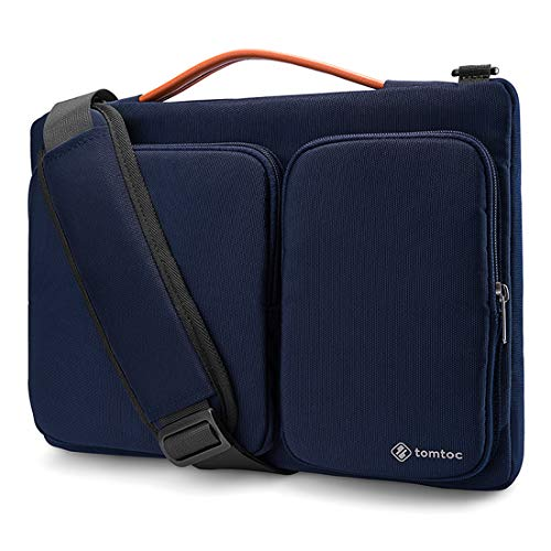 tomtoc 15 inch Laptop Sleeve Shoulder Bag Compatible with 16-inch MacBook Pro 2019, 15-inch MacBook Pro A1398, Dell XPS 15, Surface Book 2, Dell XPS 15, Briefcase with Accessory Pocket, Dark Blue