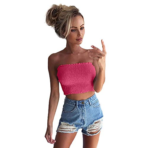 VEKDONE Women Strapless Pleated Summer Sexy Bandeau Tube Crop Tops(Hot Pink,X-Large)