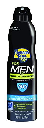 Banana Boat Sunscreen for Men Triple Defense Broad Spectrum Sun Care Sunscreen Spray - SPF 30, 6 Ounce