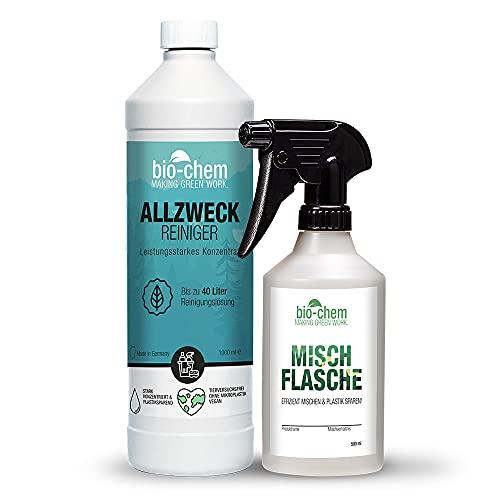 Biochem - Limpiador multiusos concentrado – extremadamente potente para una limpieza higiénica – 1000 ml + botella de mezcla pulverizador manual de 0,5 l