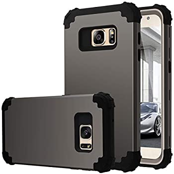 Fingic Case for Galaxy S7 Heavy Duty Dual Layer Protection Hybrid Hard PC & Soft Silicone Rugged Bumper Anti Slip Full-Body Shockproof Protective Phone Case for Samsung Galaxy S7 Gun Metal