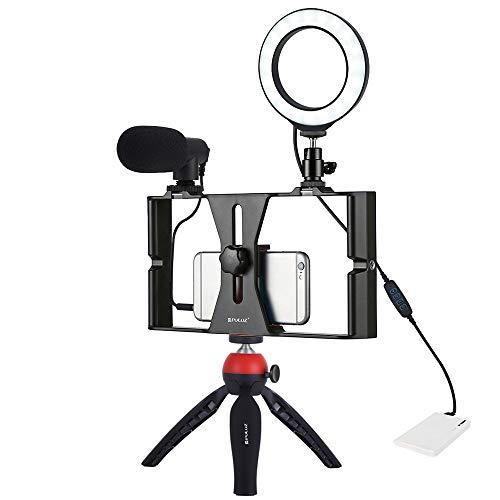Luz De Relleno De Anillo Autofoto Regulable con Soporte para Teléfono Celular Y Estabilizador De Trípode Y Fotografía con Luz De Anillo para Micrófono