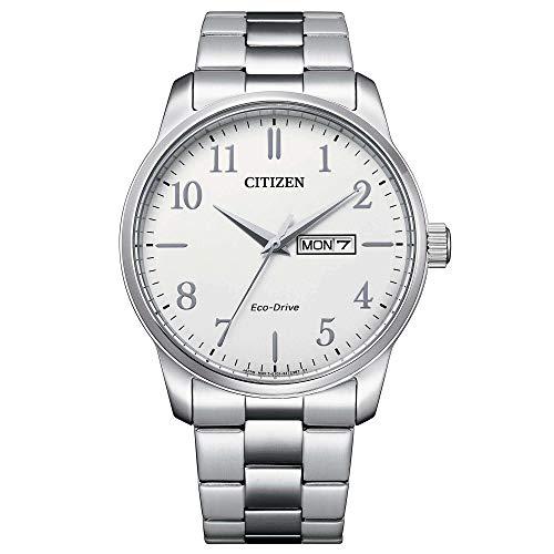 Citizen Eco-Drive BM8550-81A - Reloj para Hombre Acero Clásico Doble Calendario Esfera Blanca