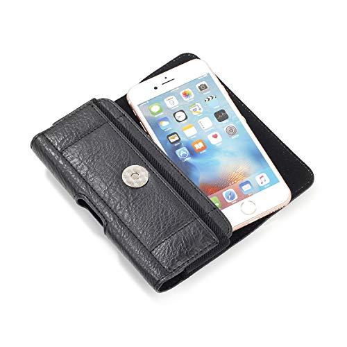 SZCINSEN Funda tipo cartera para Samsung Galaxy S4/S3/J7-2017, funda de cuero para cinturón para iPhone 8 7 6, funda para teléfono (color negro)