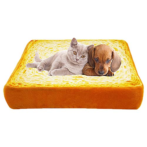 HOUTBY Soft Pet Sofa Toast Bread Shaped Warm Cushion Bed Sleep Mat Bedding Pad for Dogs Cats Puppy Kitten