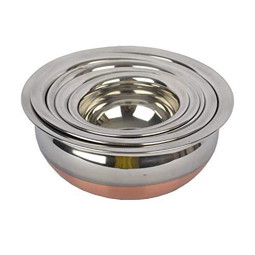 Vishal Enterprise Kitchen Appliances Stainless Steel Copper Bottom Cooking/Serving Biryani/Punjabi Pot Pan Combo Handi Set with Stainless Steel lid (Mirror Finish Design Qty, 5)