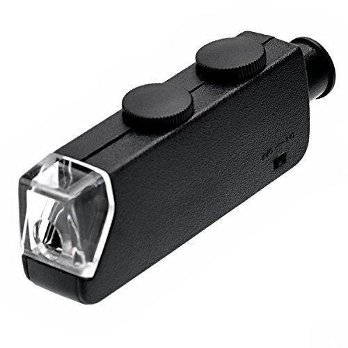 YOMIUP MG10081-1 Handheld 60X-100X Zoom LED Lighted Pocket Microscope (Black)