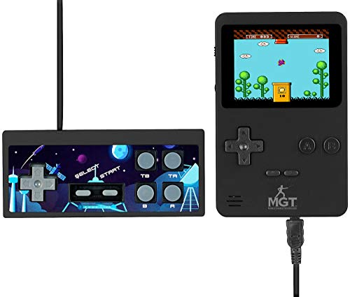 MGT Mobile Games Technology Konsole: 2in1-Retro-Spielekonsole, 7-cm-Farbdisplay (2,8