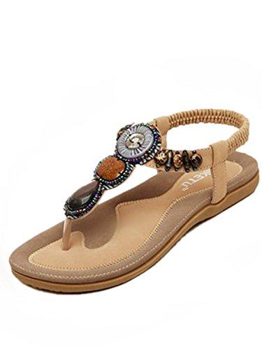 Sandalen Damen Sommer Süße Perlen Clip Toe Wohnungen Bohemian Fischgräten Sandalen (38, Khaki)