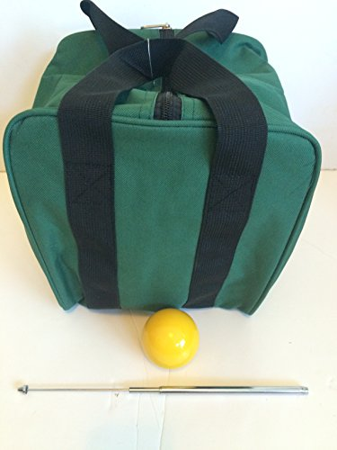 Unique Bocce Accessories Package - Extra Heavy Duty Nylon Bocce Bag (Green with Black Handles), Yellow pallina, Extendable Measuring Device -  BuyBocceBalls, BBB_Bag_GRN_YP_MD