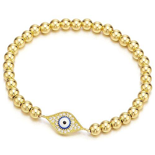 COOLSTEELANDBEYOND Oro Pulsera de Perlas con Zirconio Cúbico Protección Mal de Ojo, Mujer Hombre Niñas Pulsera del Encanto, Brazalete