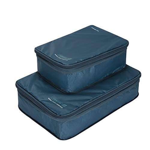 Travelon World Travel Essentials Set of 2 Cubes w/Compression, Peacock Teal, One Size