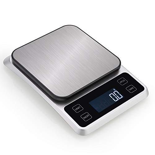 Báscula de Cocina Digital, Balanza de Alimentos Medicíón con Pantalla LCD Retroiluminada, de Acero Inoxidable, Recargable,10kg/1g