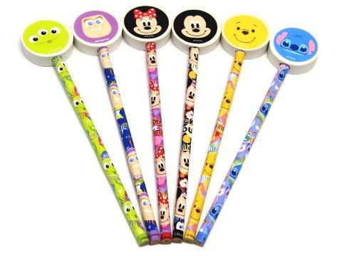 (ディズニー)Disney ディズニー 消しゴム 付き 鉛筆 6種類 アソート セット