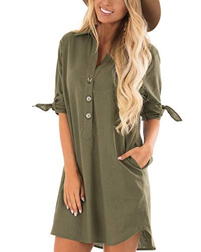 CNFIO Sommerkleid Damen Elegant Kleider V-Ausschnitt 1/18 Ärmel Einfarbig Shirt Design Kurz Blusenkleid Minikleid Strand Kleider B-Armee grün EU40-42