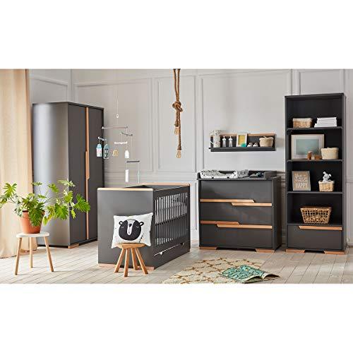 Chambre complète lit bébé 60x120 - commode à langer - armoire 2 portes Snap - Gris et bois