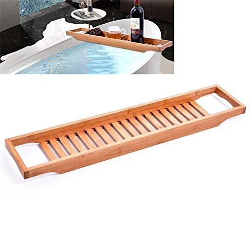 HWZZ Badewanne Lagerregal Bambus Badewanne Lagerregal Bad Lagerregal rutschfest Verstellbare Badewanne Caddy Bridge Für Die Meisten Badewannengrößen,70x14.6x4.5cm