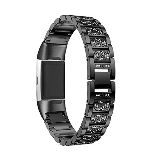 XIALEY Women Stainless Steel Sport Bracelet Compatible with Fitbit Charge 4/Fitbit Charge 3, Replacement Wrist Strap Jewelry Glitter Rhinestone Band for Charge 4/Charge 3,Black