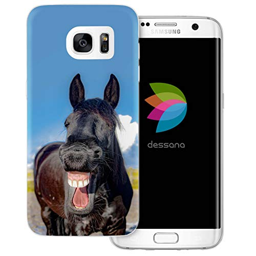 dessana Grappige paarden Transparante siliconen TPU Case 0.7mm dunne telefoon Soft Case Cover Case voor Samsung Galaxy S Note, Samsung Galaxy S7 Edge, Lachend paard