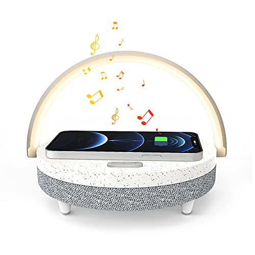 Bedside Lamp,EZVALO 4 in 1 Night Light with Wireless Charger,Portable Speaker,Phone Holder,Touch Control Diammable Table Lamp Nightstand Lamp for Bedroom