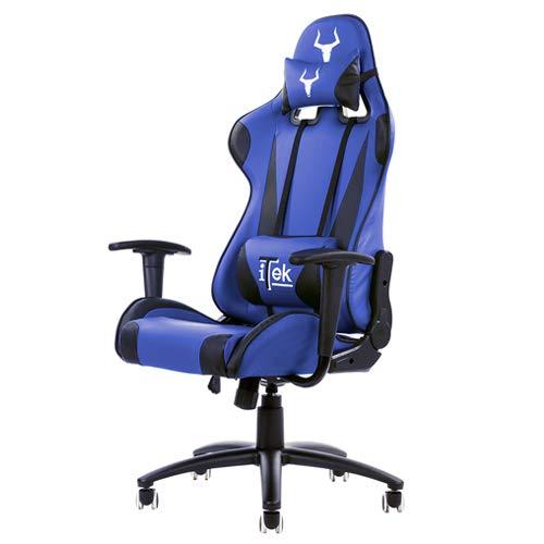 Itek ITTGCHP2BL Sedia da Gioco, Nero/Blu, finta pelle, ergonomica