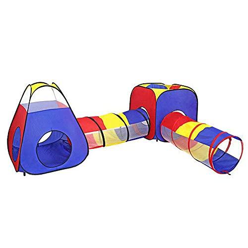 LIALIYA Niños Play Tent, 4 en 1 Tienda Pop Up Dddlers Crawl Tunnel Playhouse Ball Pit Pit Ball Tienda Plegable, Bebés Juguete Regalos para Niños Niñas Niños Negros para Negocios