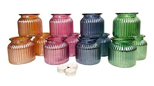 itsisa Windlicht, bunt (12er Box) tolle große Teelichthalter, Windlicht, Teelichterglas