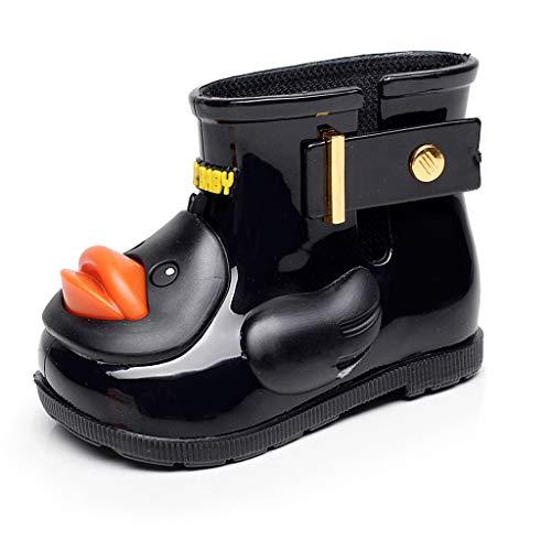 Toddler Boys Girls Rainshoes Waterproof Boot for 1-8 Years Old Children Cartoon Duck Animals Galoshes Rainboot (2.5-3 Years Old, Black)