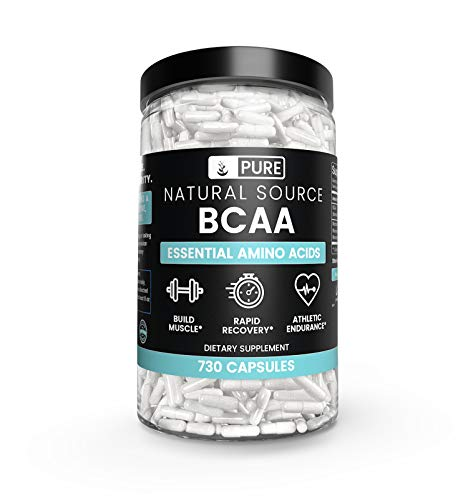 BCAA (730 Capsules) 2:1:1 Ratio, Naturally Sourced, Filler-Free, Paleo & Keto Friendly, Made in USA (1500 mg Serving)