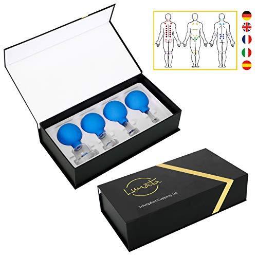 Lunata [Upgrade 2020] 4er Schröpfglas Set mit Saugball, 15-25-35-55 mm, Schröpfgläser für eine professionelle Schröpfmassage um Verspannungen lösen und Schmerzen lindern