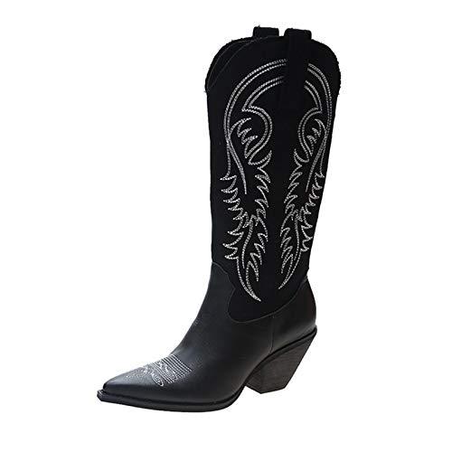 Botas de Vaquero para Mujer, Botas de Cuero Vintage Bordadas en Blanco y Negro, Botas Altas hasta la Rodilla con Punta Puntiaguda y tacón de Bloque
