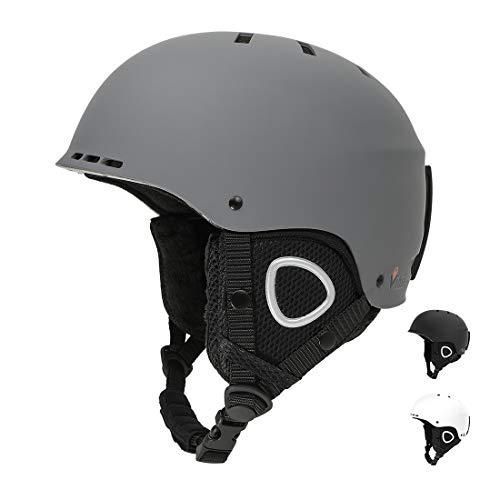 Vihir Skihelm Damen Herren ski Helmet Snowboardhelm Wintersport-Helm für Erwachsene Jungen mit Abnehmbarem Innenfutter und Ohrenschützer, Matt Dunkelgrau 54-60CM