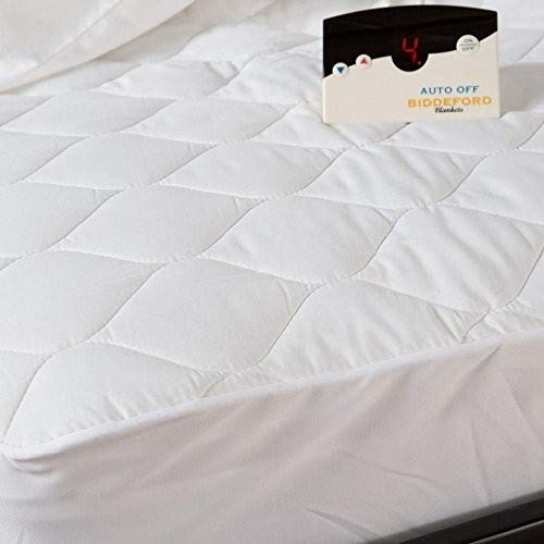 Biddeford Blankets Quilted Electric Heated Mattress Pad with Digital Controller, Twin, White