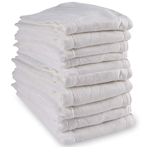 Cloth Diapers Prefold 10 Pack Premium Cotton, Mifidy 3Ply Washable Diaper Covers for Babies to Toddlers Multi-Use (10-30 lbs)
