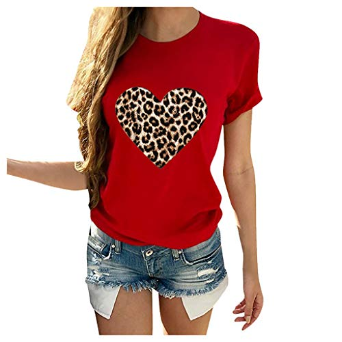 FUNEY Womens Valentine's Day Casual Buffalo Leopard Print Love Heart-Shaped Short Sleeve O Neck Tshirt Blouse Tops Red