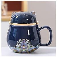 カップ ふたフィルターギフトマグカップ茶水分離茶のティー水分離 コーヒーカップ (Farbe : Blue, Kapazität : 400ml)