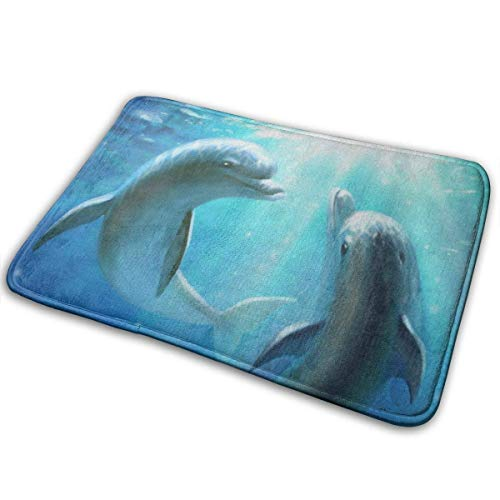 Liuqy Universal Anti SlipDoor Mat, Eingangsbereich Outdoor Indoor Welcome Mat, Rechteckige Anti Slip Fußmatte Stylish Cute Couple Dolphin Love Blue Ocean