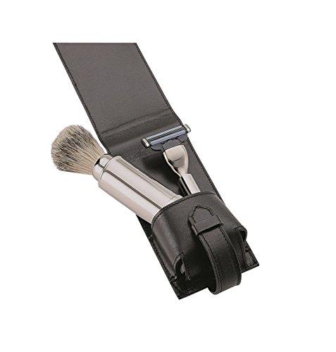 Becker Manicure Erbe Kulturtaschen Travel & Shave Set Rasierer + Pinsel + Tasche Schwarz 1 Stk.