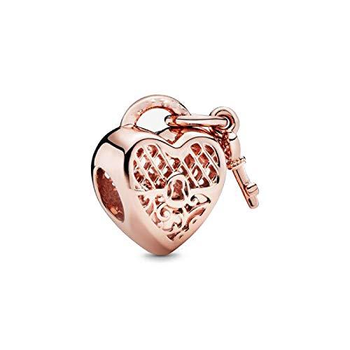 XIAODAN Plata de Ley 925 Flor de Oro Rosa árbol Colgante de corazón DIY Cuentas Finas se Ajustan a la Pulsera Original del Encanto joyería de Las Mujeres A1449RG