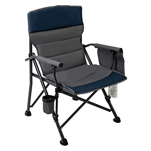 Pacific Pass Camping Chair Heavy Duty Padded Chair, 400lbs Capacity, Folding Sports High Back Chair with Storage Bag & Cup Holder for Camping, Fishing, Hiking, Outdoor, Carry Bag Included, Navy