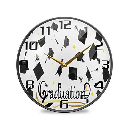 TropicalLife, orologio da parete rotondo vintage con motivo a graduzione, orologio decorativo moderno, a batteria, adatto per sala da pranzo, cucina, ufficio, aula 24,1 x 24,1 cm