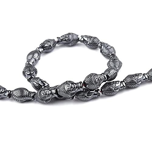 Cuentas de piedra natural Árbol de la vida Abeja León Ancla Animal Hematita negra Perlas espaciadoras sueltas Para bricolaje Hacer joyería Pulsera 15 '' - Buda indio