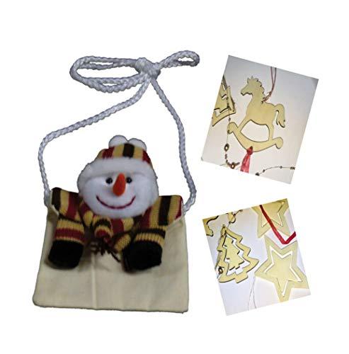 Minis Kreativ Sacchetto con pupazzo di neve, tasca sul petto per monete, chiavi, e 4 decorazioni natalizie in legno a forma di albero di Natale