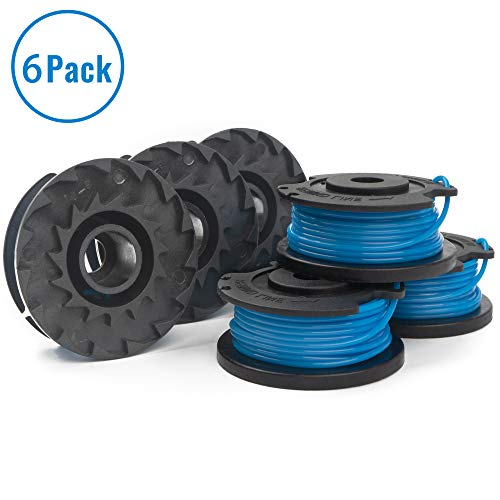 X Home 6 Pack Trimmer Replacement Spools Compatible with Greenworks Weed Eater String 21332 21342 29252, 24-Volt 40V 80V Cordless Edger Spool Refills Parts, 16ft 0.065 inch Single Line