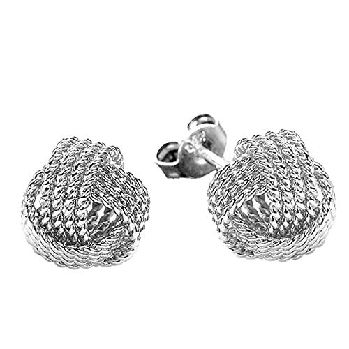Zhantie Pendientes de tuerca de malla de joyería de moda sólida, pendientes de nudo para mujeres y niñas