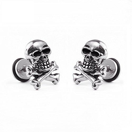 Un par de acero inoxidable clásico pendientes Calavera Cráneo Calave